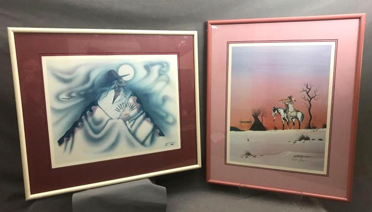 2 Native American Robert Redbird prints pencil signed