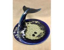 Cobalt blue art glazed ceramic whale tail platter