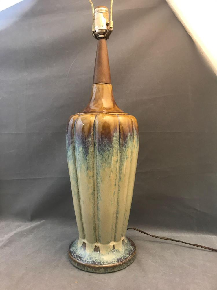 Mid century modern ceramic drip glaze lamp