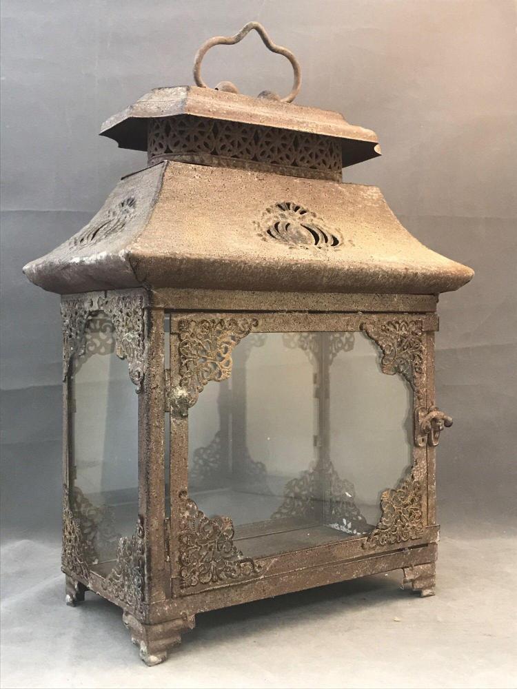Glass and tin glass garden lantern