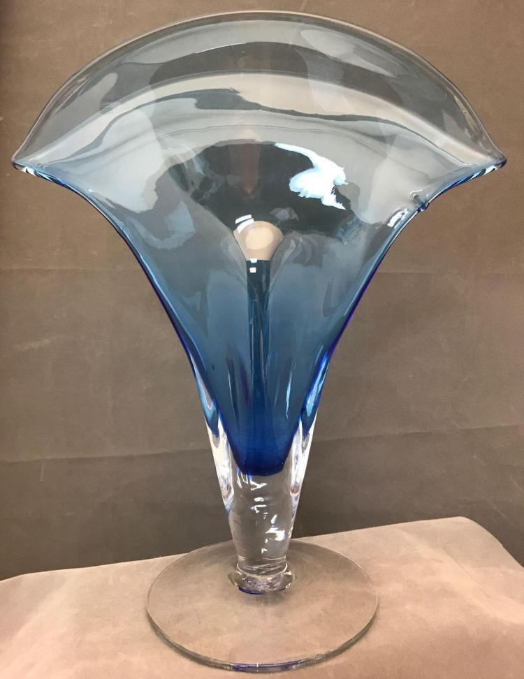 Blenko blue fan vase