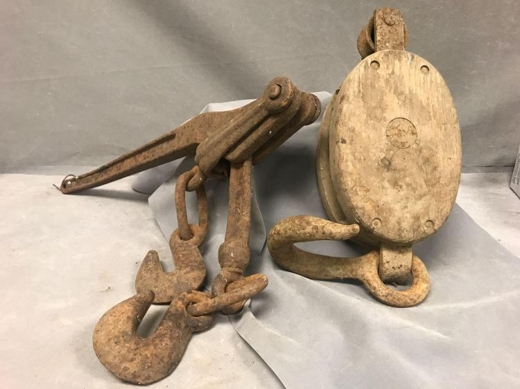 2 Piece antique pulley lot
