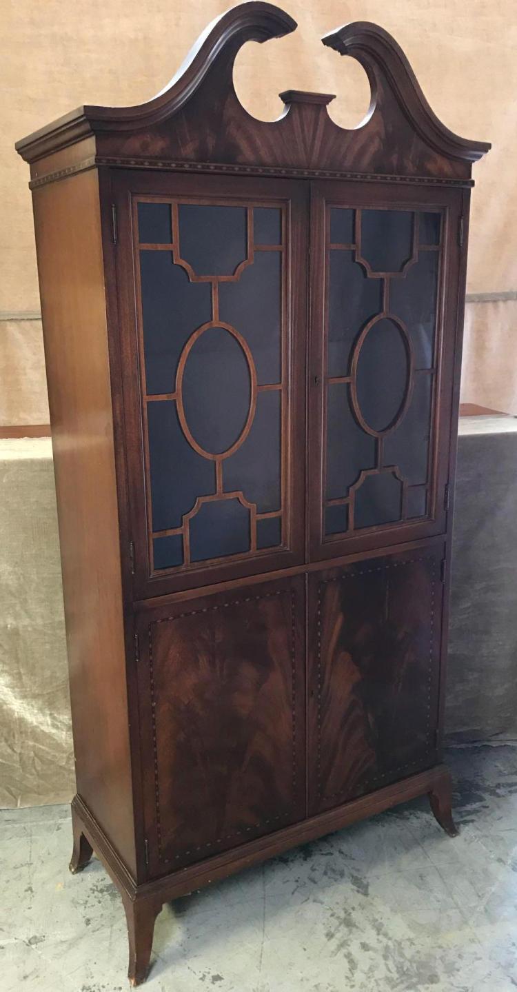 Mahogany heartwood locking liquor cabinet with hardwood inlay