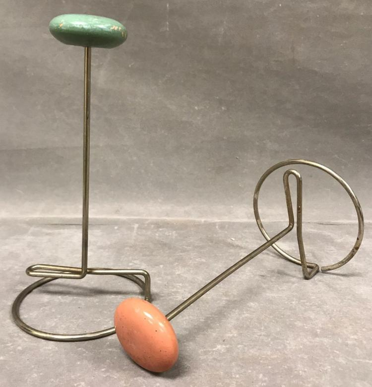 Two Vintage chrome and wood hat stands