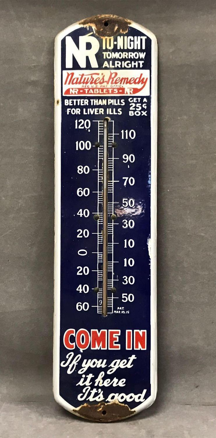 Vintage Porcelain Rx Natures Remedy Outdoor thermometer