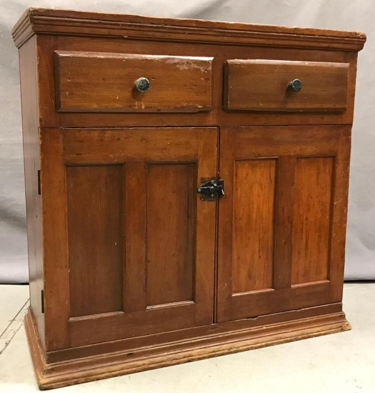 Antique two drawer cabinet with shelving