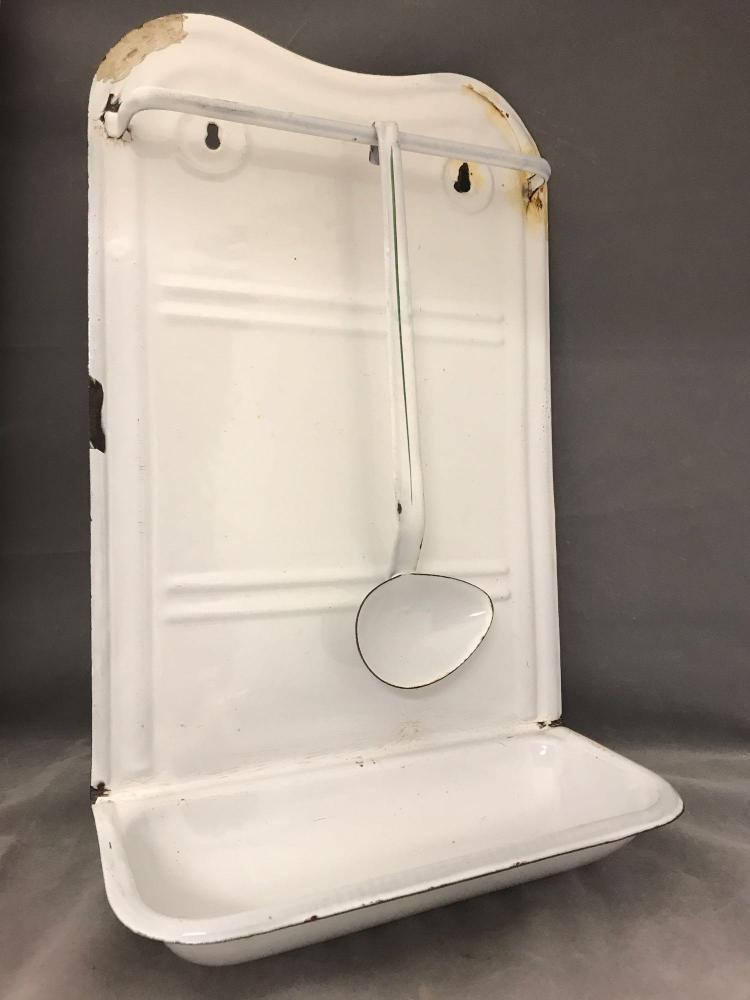 Antique enamel hanging water basin with towel rack and ladle