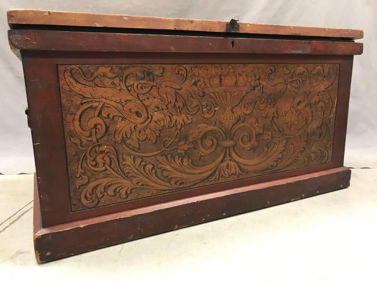 Highly decorated pyrographytrunk with antique hardware