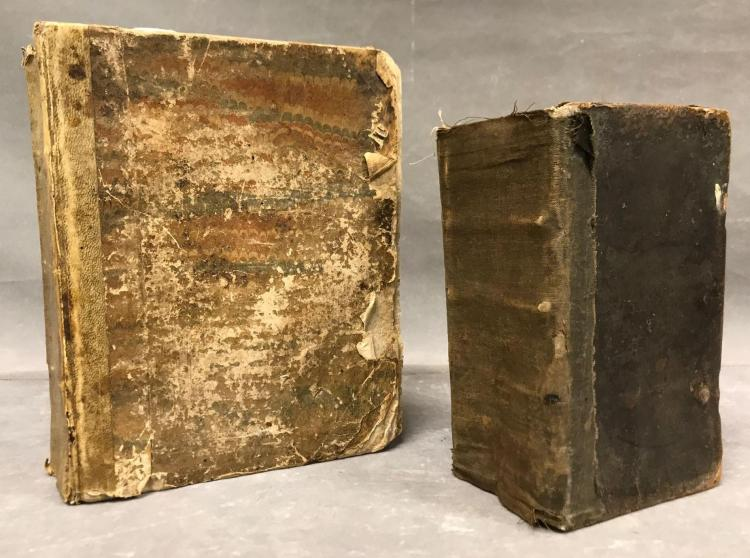 Two 1700s German books. Large one believed to be a German cookbook dated 1706