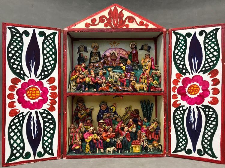 Vintage Peruvian Andean Retablo nativity scene