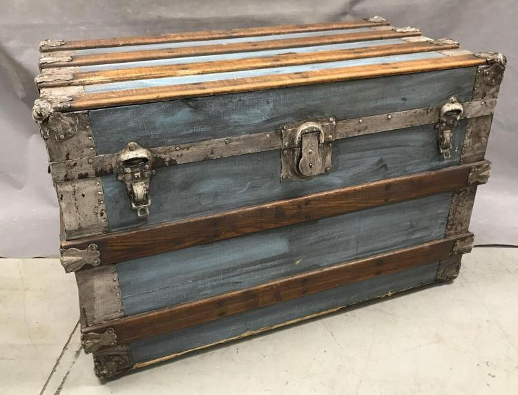 Antique painted travel trunk with oak trim, original hardware
