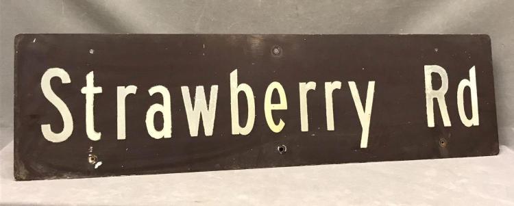 Vintage street sign, Strawberry road