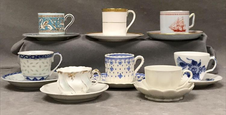 Lot of 8 assorted demitasse cups. Royal Doulton, Copeland spode