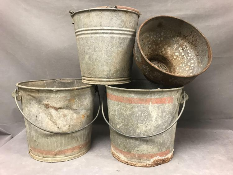 Vintage galvanized buckets and mill buckets