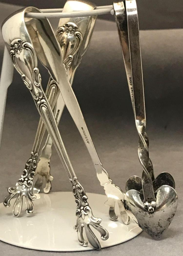 3 Antique sterling silver sugar tongs