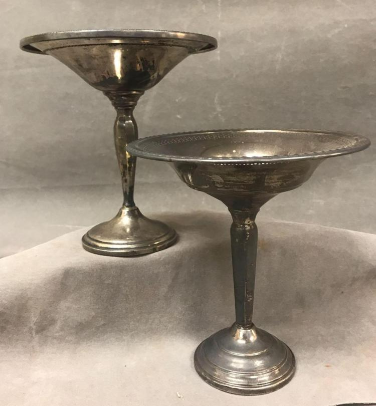 2 English sterling silver weighted compotes