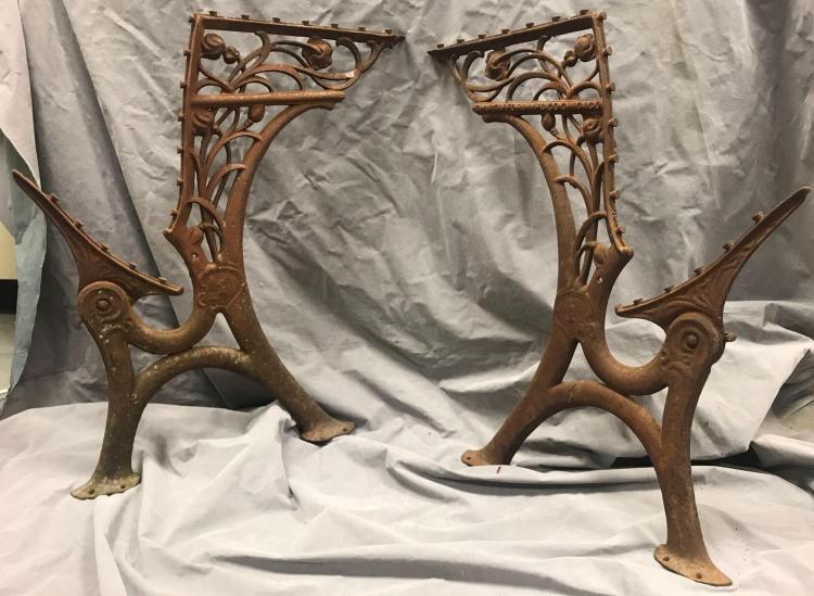 2 sets of decorative antique cast iron bench ends