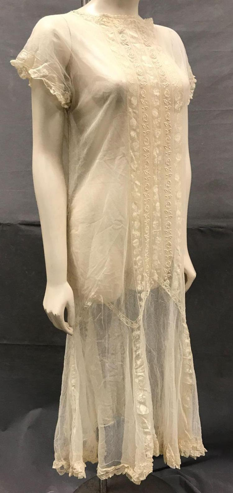 Art Deco era hand stitched lace dress