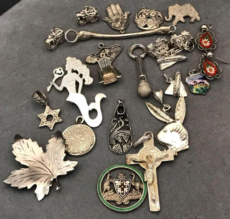 24 piece sterling silver charms pendants earrings lot