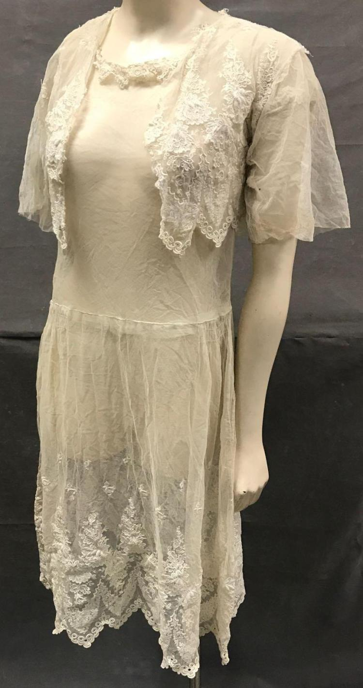 AntiqueHand stitchedFrench lace dress and camisole