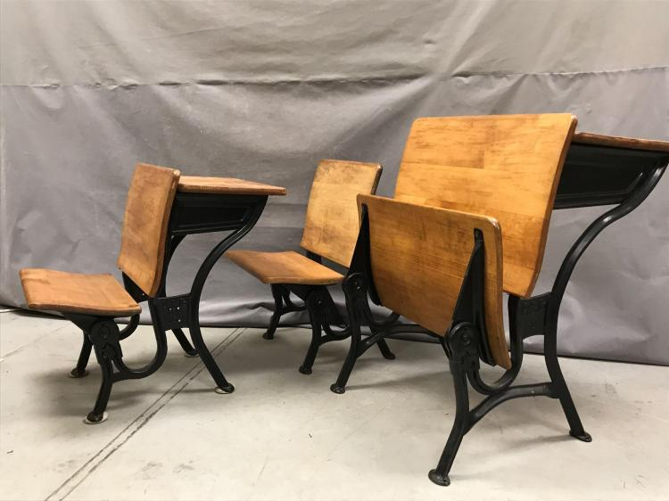 3 Antique school house desks