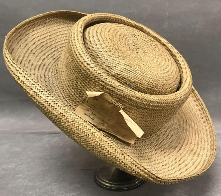 Antique Philippine straw Burri hat displayed at the DeYoung museum