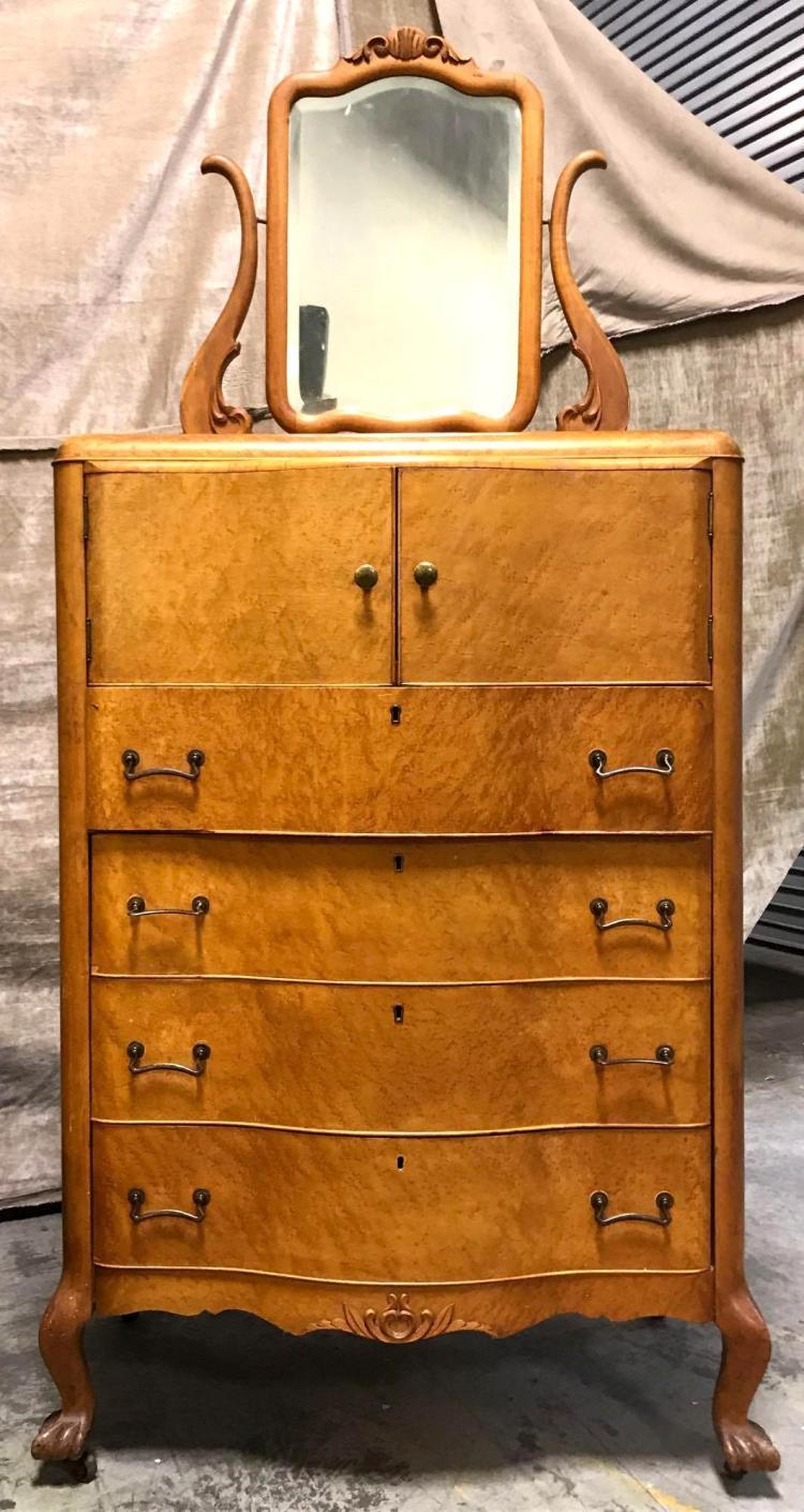 Antique four drawer birdseye maple dresser