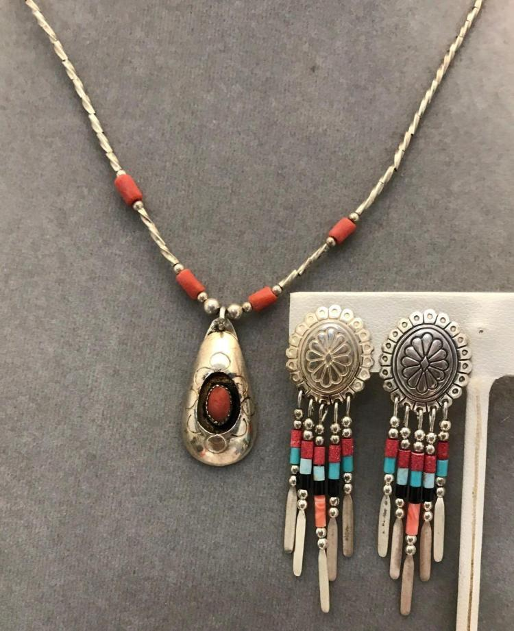 Sterling silver coral necklace and chain and earrings with coral turquoise and onyx