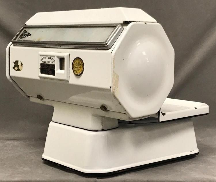 Older white enamel scale made by Sanitary Scale Co. Belvidere Illinois