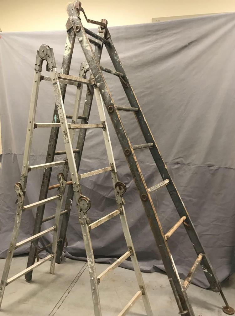 2 Vintage ladders including older apple orchard ladder