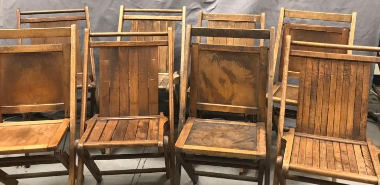 Eight antique wooden folding chairs. 4 chairs marked Peerless folding furniture