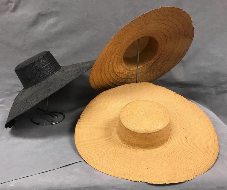 3 straw fascinator hats circa 1920.