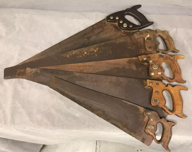 Lot of five antique hand saws. Manufactures include Craftsman, Keen Kutter, The Simonds Mfg. co., Disston