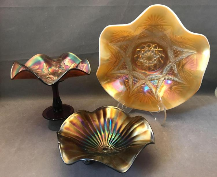 3 Beautiful pieces of carnival glass