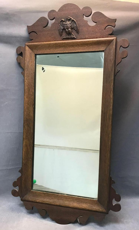 Federalist wood framed mirror with eagle