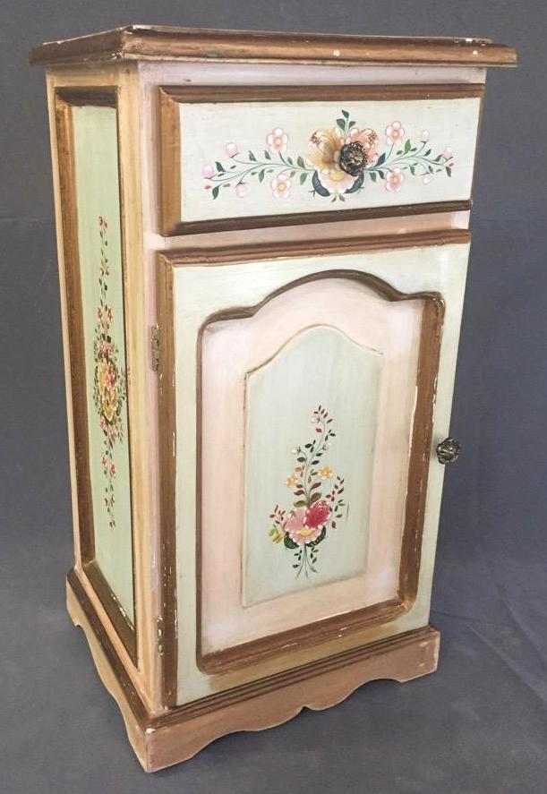 Hand Painted Floral Side Cabinet Or Lamp Table With Storage