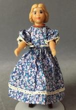 Little Hitty doll  Blonde w/ blue+ pink dress
