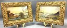 Two miniature oil on board, of coastal scenes