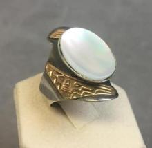 Gold & Sterling Mother of Pearl Ring