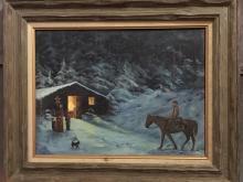Known artist, Sharon Higgins, Western snow scene, on board