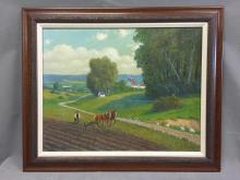 German artist George Lowel pastoral farm scene, 1940s