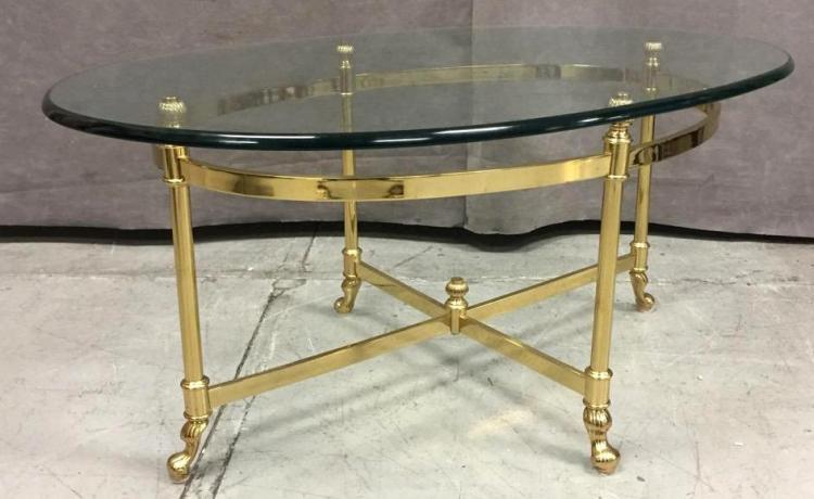 Labarge coffee table w removable glass top and gold finish for Coffee table with removable glass top