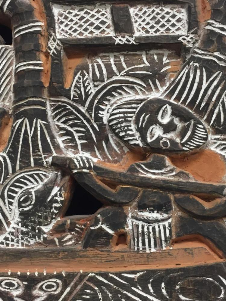 Australian Wood Panelling : Australian carved and painted wood panel scene of village o