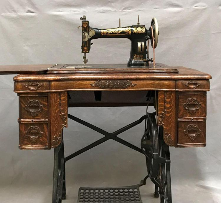 Antique Singer treadle sewing machine white family rotary