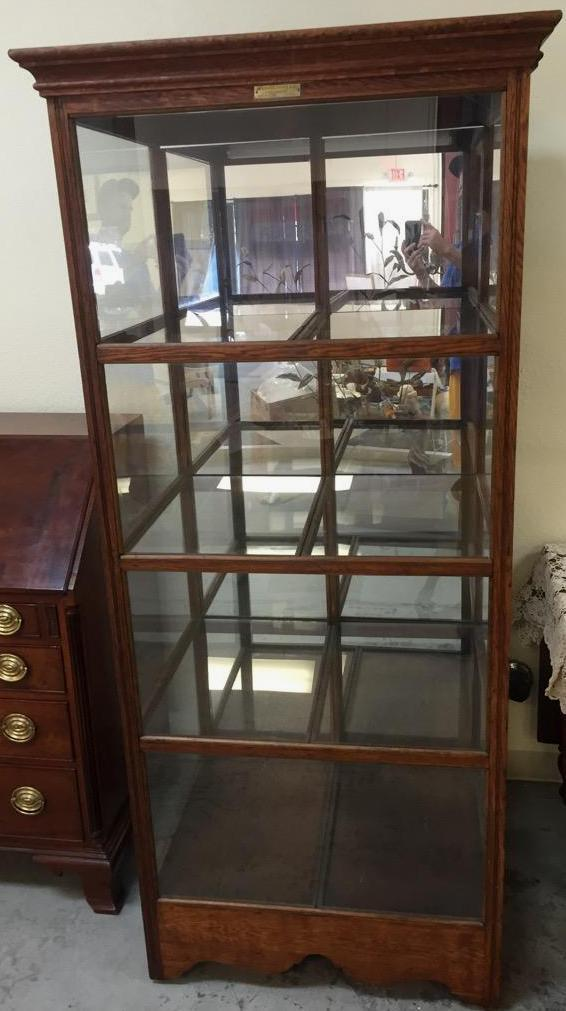 Antique Four Shelf Double Sided Show Case Locking Mirrored