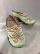 Antique Afghani embroidered clogs