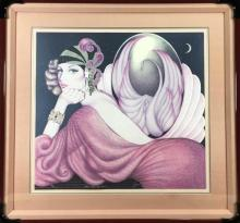 Vintage Art Deco style Lithograph of flappersigned, Mary Vickers
