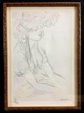 Rare Offset Lithograph of pencil sketch titled,