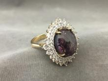 Cast Star Ruby & white sapphire ring, sz 8