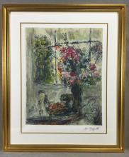Impressionist color lithograph of still life by Marc Chagall